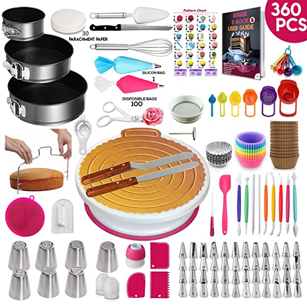 360 Pcs Cake Decorating Supplies Kit with Baking supplies- Springform Pan Set -Cake Turntable stand-55 Numbered Piping Tips & Bags 7 Russian tips Icing Spatulas Fondant tools Measuring cups & Spoons (Tamaño: 360 PCs)
