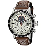 Citizen Men's 'Eco-Drive' Quartz Stainless Steel and Leather Casual Watch, Color:Brown (Model: CA0649-06X) (Color: Brown, Tamaño: One Size)