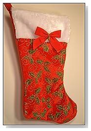 Dog Christmas Stocking Green Holly