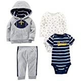 Simple Joys by Carter's Baby Boys' 4-Piece Fleece Jacket Set, Gray Football, 12 Months (Color: Gray Football, Tamaño: 12 Months)