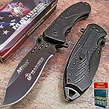 Pocket Knife Tactical Folding Rescue Knife Spring Assisted Open USMC Marines BLACK Handle 3.75