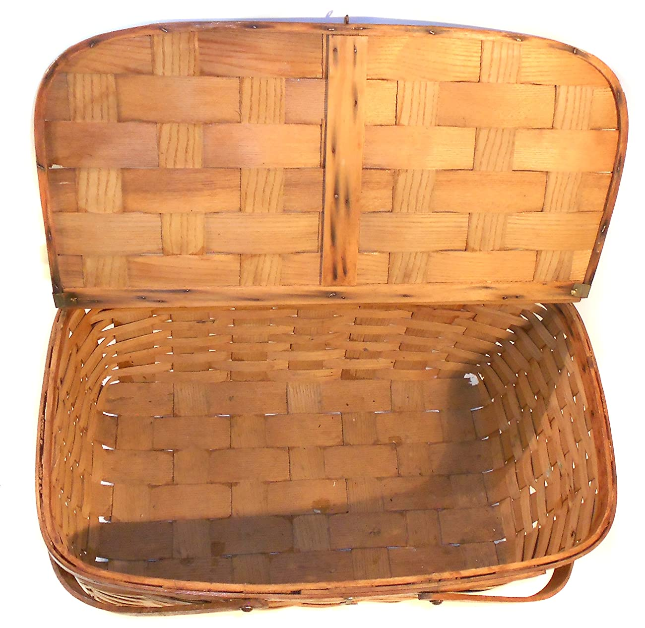 Great Old Vintage Primitive Oak Woven Oak Splint Picnic Basket 3