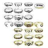 LOLIAS 22 Pcs Vintage Knuckle Ring Set for Women Girls Stackable Rings Set Punk Finger Flower Rings