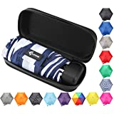 Travel Umbrella with Case - Compact and Light Small Mini Striped Umbrella is perfect for Kids Backpack, Purse, School, Car or Office - Navy and White Stripes (Color: Navy and White Stripes, Tamaño: One_Size)