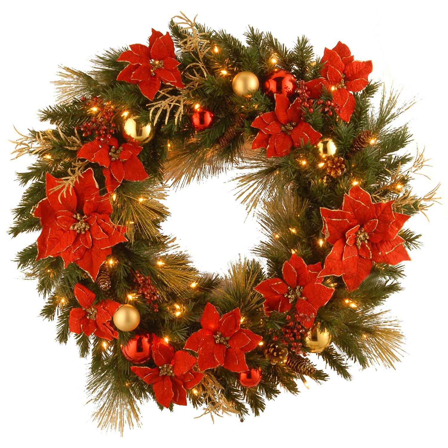 National Tree DC13-111L-36W 36-Inch Decorative Collection Home Spun Wreath with 100 Clear Lights