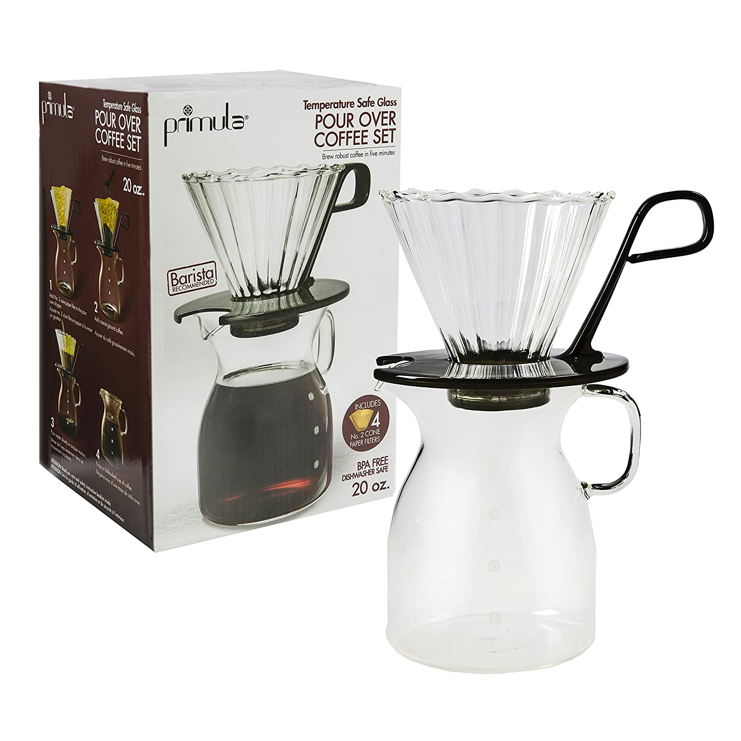 Primula Pike Pour Over Coffee Dripper and Carafe Set - Borosilicate Glass - For Light, Non-Bitter Drip Brewed Coffee - Easy to Use - 20 Ounces