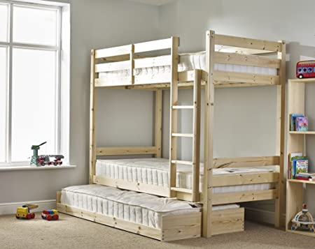 Bunk Bed with Guest Bed - 2ft 6 Small Single bunkbed with pull out trundle - Can be used by adults