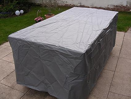 Mesa de jardín protectora cubierta gris rectangular para tamaño de la mesa: 150x 90x 66