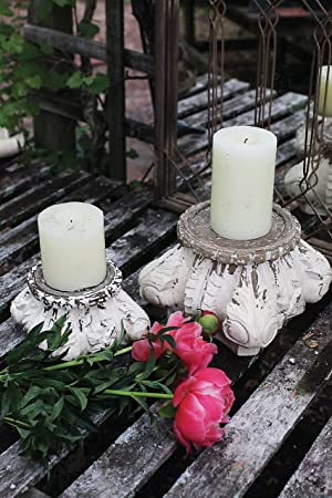 White Shabby Chic Stain Wood Carved Column 7-inch Pillar Candleholder by Creative Co-Op