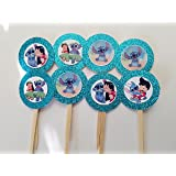 8 Lilo Stitch Cupcake Toppers 1st First Baby Shower Decor Cake Birthday