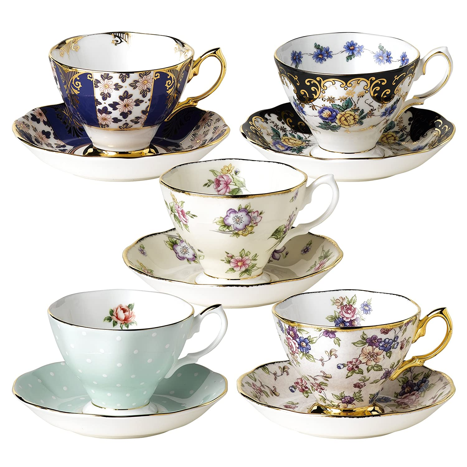 Royal Albert Teacups and Saucers, Set of 5, 1900-1940