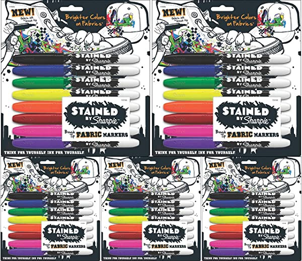 Sharpie 1779005 Stained Fabric Markers, Brush Tip, Assorted Colors, 8-Count - 5 Pack