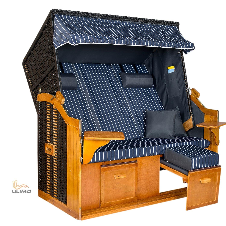 Strandkorb BALTIC-R BLC XXL, anthrazit, blau-weißer Nadelstreifenbezug, von LILIMO jetzt kaufen