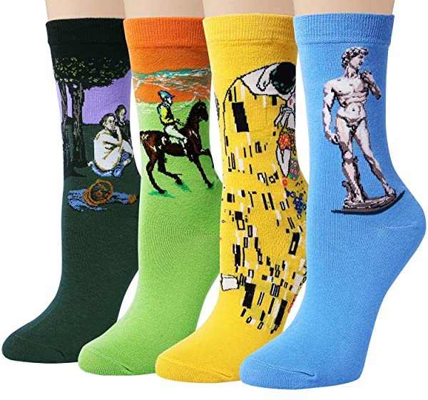 Chalier 4 Pairs//5 Pairs Womens Famous Painting Art Printed Funny Casual Cotton Crew Socks