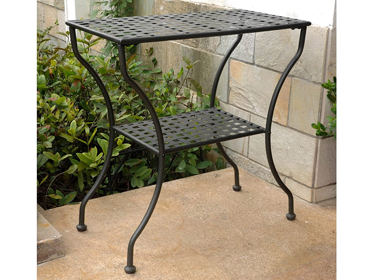 Iron Antique Black 2-Tier Patio Side Table 1