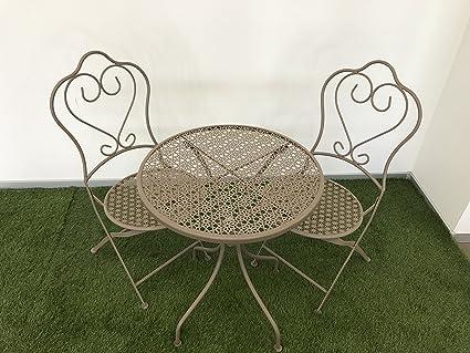 """Set da giardino terrazza """"LE PETIT BISTROT"""" tortora. 2 sedie pieghevoli + tavolo Ø60 cm in acciaio verniciato"""