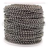 CleverDelights Ball Chain Spool - 30 Feet - Gunmetal (Dark Silver) Color - 2.4mm Ball - #3 Size - 10 Yards (Color: Gunmetal, Tamaño: 2.4mm)