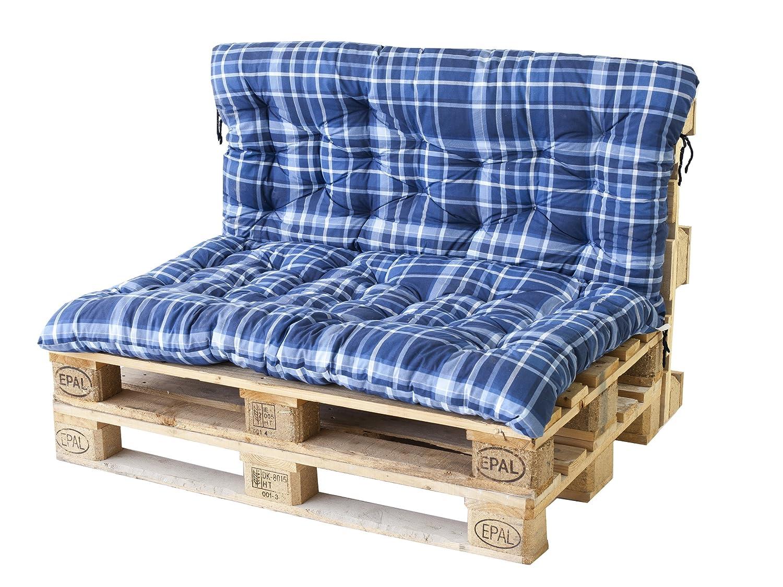 Palettenkissen Auflage für Europalette mit Rückenteil Sitzkissen Karo Blau