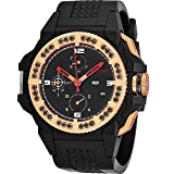 Snyper 'One M Bicolor' Black Stainless Steel Chronograph Automatic Watches For Men Swiss Made - 43mm Analog Black Face with Day Date Sapphire Crystal Mens Rose Gold Black Diamonds Watch 10.425.00