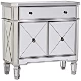 Powell Mirrored 1-Drawer, 2-Door Console (Color: Silver/Grey and Mirror, Tamaño: 32 inches)