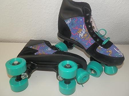 Patins à roulettes retro design roller skates retrorollschuhe rouleaux turquoises rollerskates confort 38