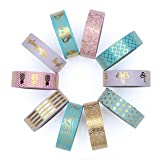 Washi Tape Set of 10 Cute Gold Foil Rolls - Extra Long 33 Feet - Decorative Masking Tapes Great for DIY Washi Tape Arts and Crafts Projects; Planners, Scrapbooking, Wall Art, Bullet Journals (Color: Gold, Aqua, Pink, Lilac)