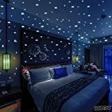 Glow In The Dark Stars Wall Stickers, 332 Adhesive Realistic 3D Stars and Dots for Starry Sky, Perfect For Kids Bedroom or Birthday Gift, Beautiful Glowing Wall Decals (Color: Glowing Green)