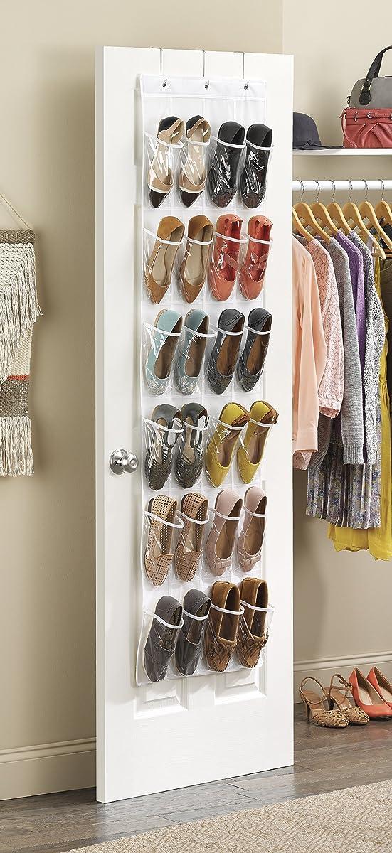Whitmor Door Shoe Bag Hanging Organizer-12 Pair-24 Oversized Pockets, Clear