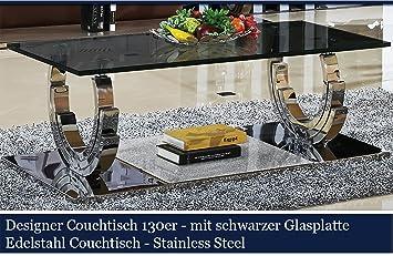 Designer Couchtisch Edelstahl Wohnzimmertisch Glastisch Glas Hochglanz Schwarzer Glasplatte (120cmx120cmx42cm)