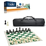 WE Games Complete Tournament Chess Set – Plastic Chess Pieces with Green Roll-up Chess Board and Travel Canvas Bag (Color: multi/none, Tamaño: 16 - 20 inches)