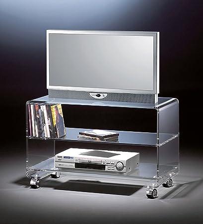 Meuble TV mobile en acrylique haute qualité, 4 roulettes chromique, transparent, 80 x 40 cm, H 50 cm, l'épaisseur de l'acrylique 10 mm