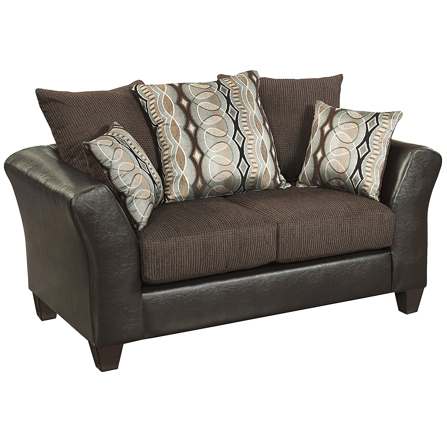 Flash Furniture Riverstone Rip Sable Chenille Loveseat - Brown