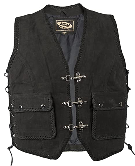Biker Gilet , veste en cuir , cuir nubuck , motard veste , moto veste , avec des poches (XXXL)