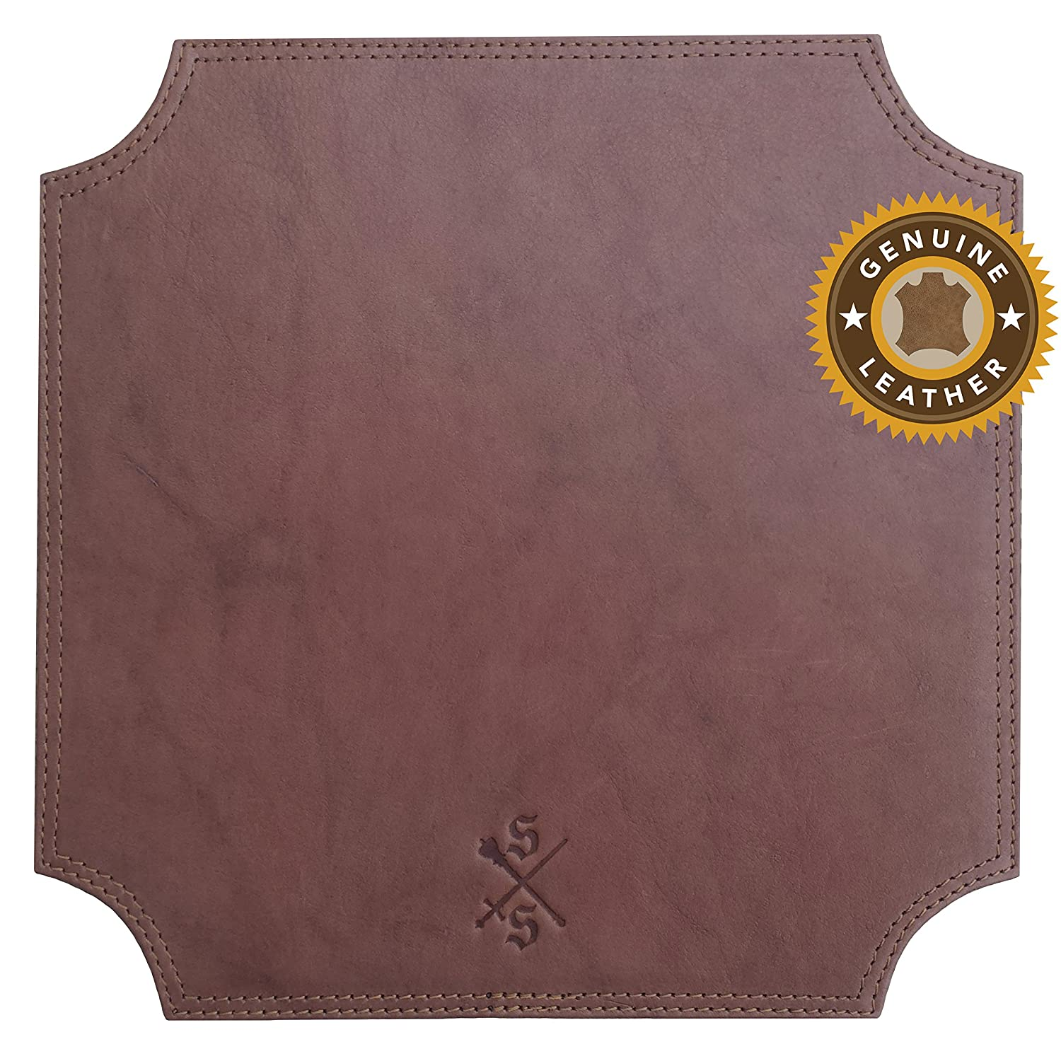 Sword & Scepter™ Cowhide Leather Mouse Pad | Premium Mousepad for Executives and Gaming | Brown