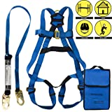 Spidergard SPKIT01 Single D-Ring Full Body Fall Protection Safety Harness Bundle with 6ft Shock Absorber Snap Hook Lanyard (Blue, L-XL) (Color: Blue Black, Tamaño: 1 Pc)