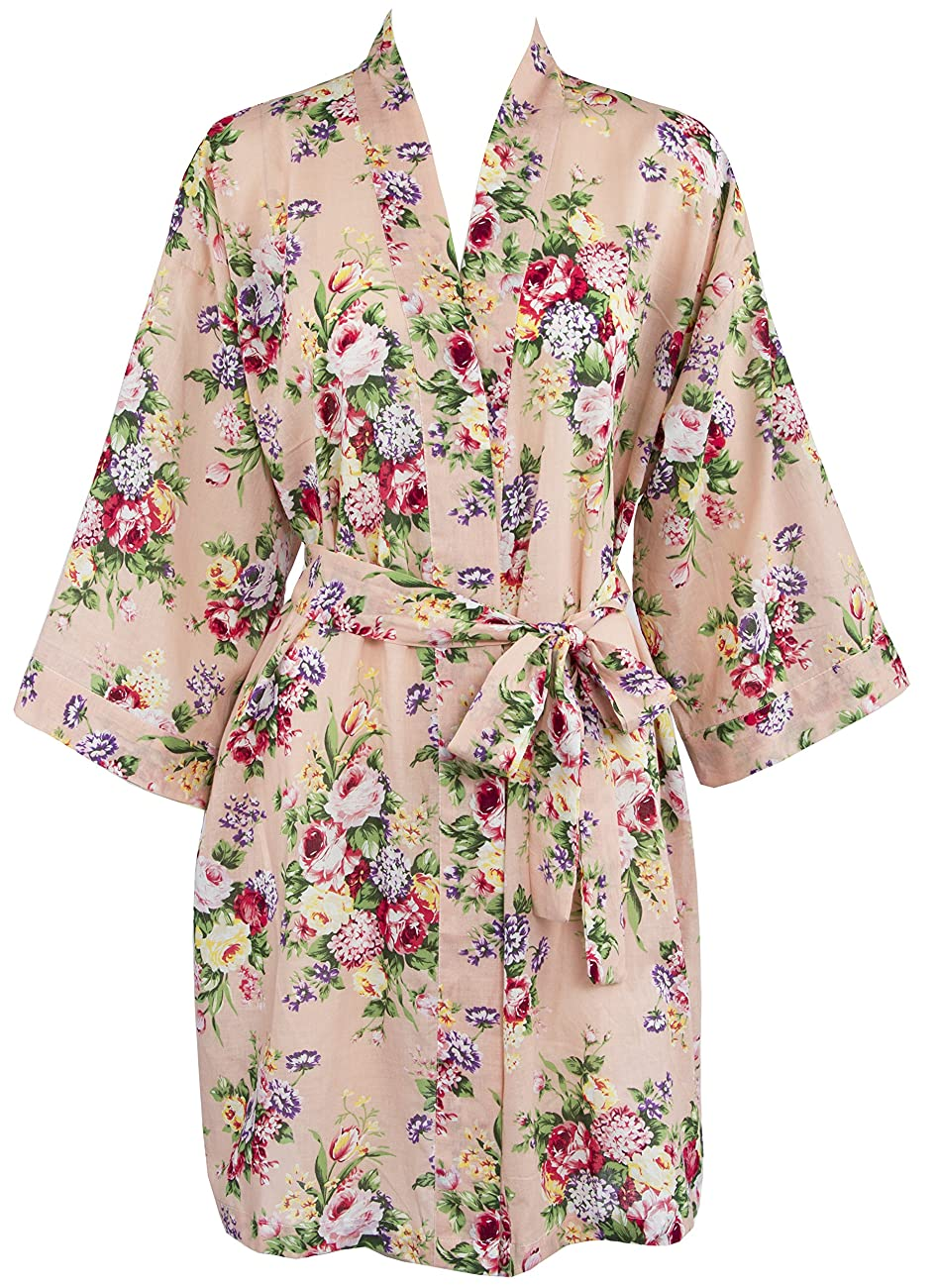 Leisureland Women's Cotton Lightweight Short Kimono Robe Vintage Floral 36