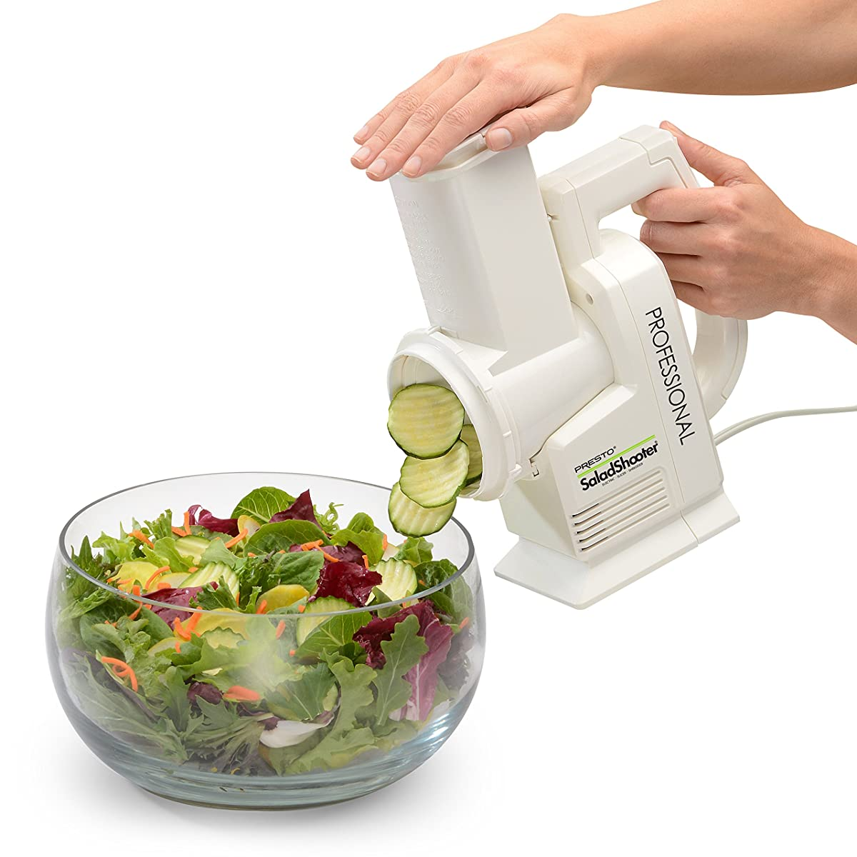 Presto 02970 Professional SaladShooter Electric Slicer/Shredder, White