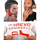 RevoBeard & RevoGoatee - Beard and Goatee Shaping & Edge up Tool Kit - Template/Stencil/Guide for Beard Trimming, Goatee, Mustache Lineup - Lightweight - Do it Yourself - Men's Grooming Set - By Revo (Color: Red)