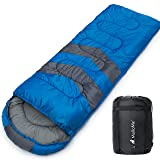 MalloMe Single Camping Sleeping Bag - 4 Season Warm Weather and Winer, Lightweight, Waterproof - Great for Adults & Kids - Excellent Camping Gear Equipment, Traveling, and Outdoor Activities (Color: Blue Single, Tamaño: Single)