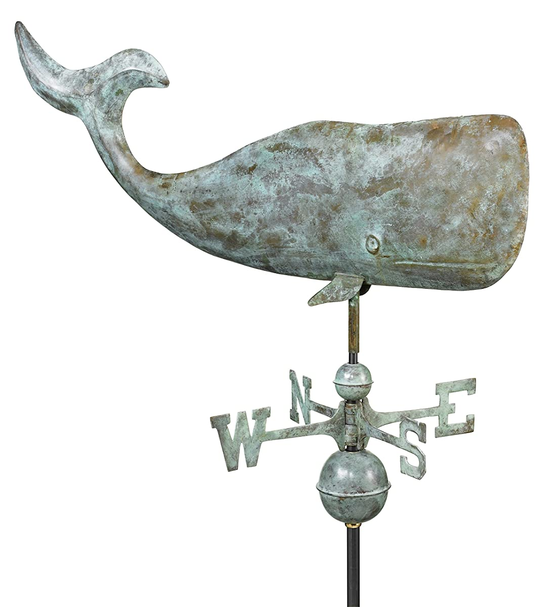 "Good Directions 37"" Whale Weathervane, Blue Verde Copper"