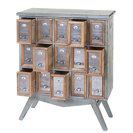 Serie vintage cassettiera credenza HWC-A43 metallo MDF legno 32x73x94cm