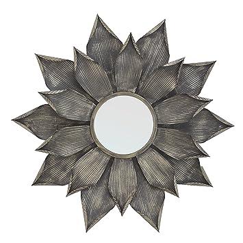 "Selectives Diameter Alice Decorative Wall Mirror, 38"", Silver Gray"