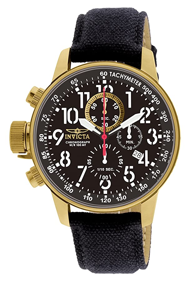 Invicta Men's 1515 I Force Collection 18k Gold Ion-Plated Watch with Black Cloth-Covered Band (Color: Black, Tamaño: Standard)