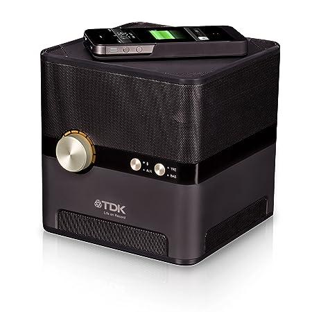 TDK Q35 Enceinte sans fil avec base de charge + Étui pour Périphériques QI - Noir - Livré Avec Prise Anglaise