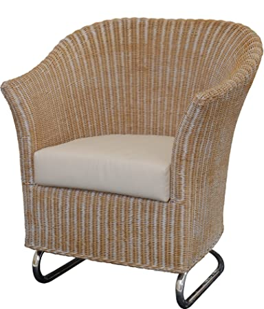 Wohnzimmersessel, Clubsessel / Rattan Wipp-Sessel in der Farbe Vintage Weiss