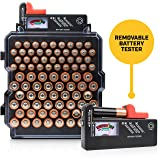 Battery Organizer Storage Case with Battery Tester - Volt Vault 83 Slot AA/AAA Battery Holder Rack and Dispenser, Wall Mount Caddy Box for Batteries (Color: Black)