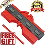 Contour Profile Gauge Duplicator With Magnets, 10 Inch Plastic Woodworking Shape Tracing Template Measuring Tool, Pipe Tile Frame Gauge, Easy Fast Profile Jig Guide For Perfect Angles And Curves (Color: Red, Tamaño: 10 inches)