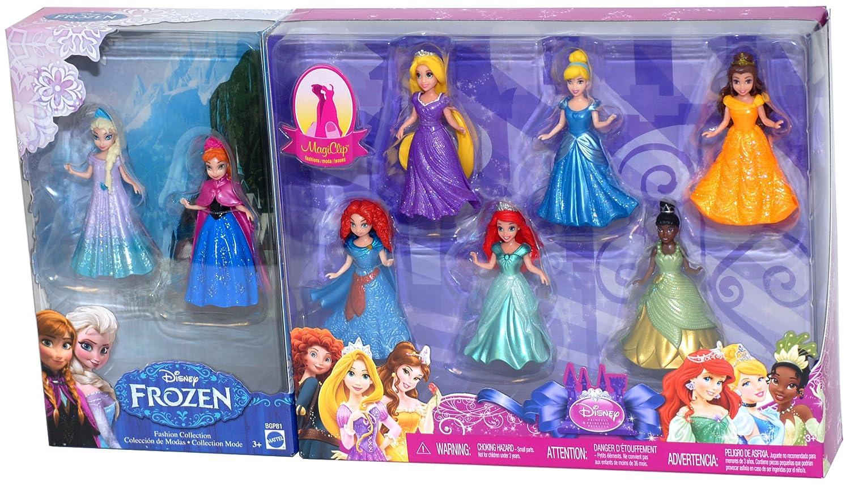 New Disney Princess Magic Clip Dolls Set Mattel 8 Figure