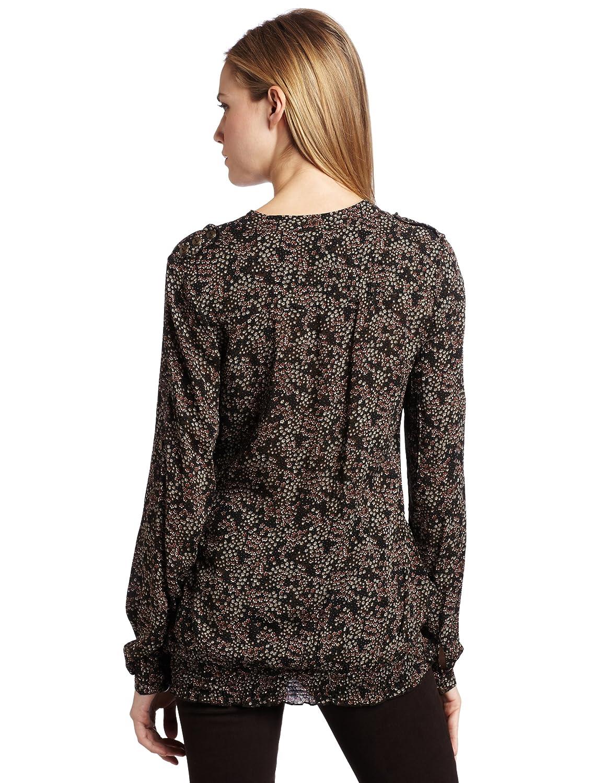(五星)2.8折D.E.P.T. Women's Mille Fleaurs Crinkled Top女士衬衫$27.67