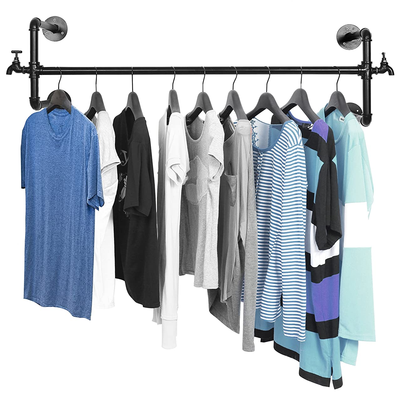 Black Metal Wall Mounted Faucet Design Closet Rod Garment Rack / Hanging Clothes Bar Display - MyGift® 0